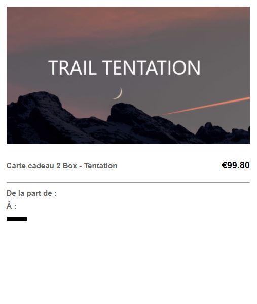 Carte cadeau trail tentation